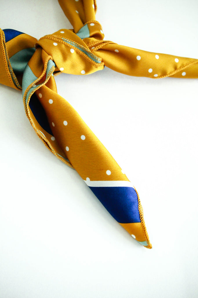 Yellow + Blue Detail Silk Bandana | ROOLEE