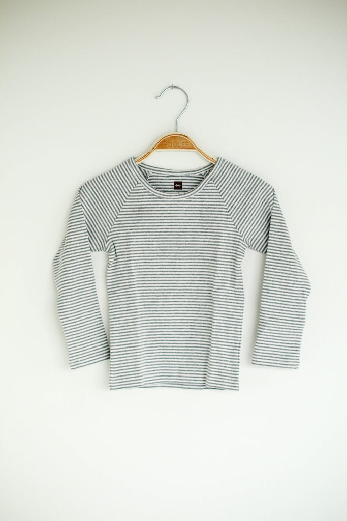 Grey + White Little Boys Long Sleeve Top | ROOLEE Kids