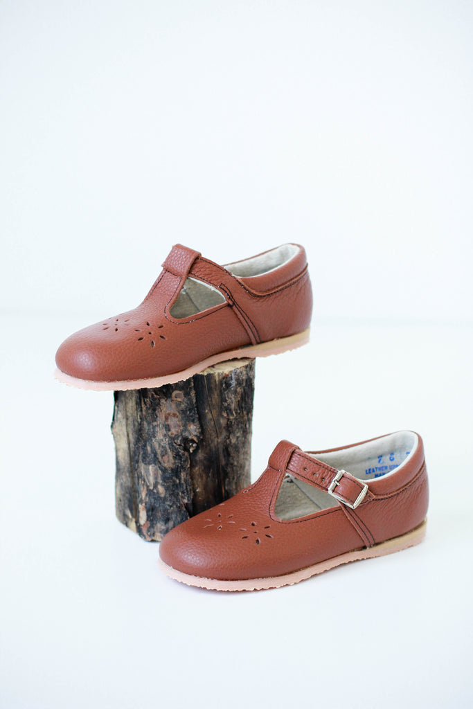 Red Brown Leather Flats For Girls | ROOLEE Kids
