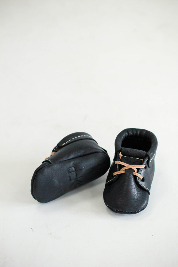 Black Leather Slipper Shoes | ROOLEE Kids