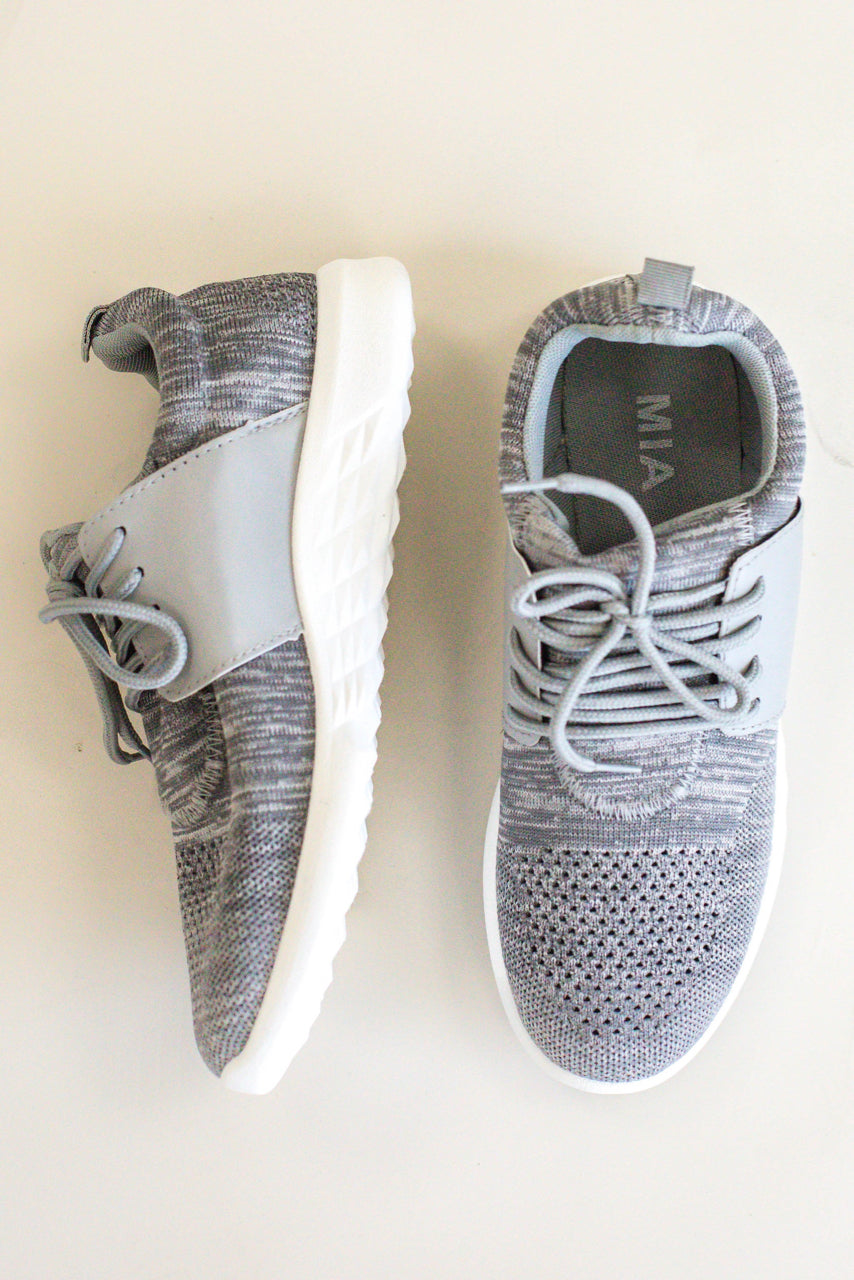 Grey Knit Running Shoes | ROOLEE
