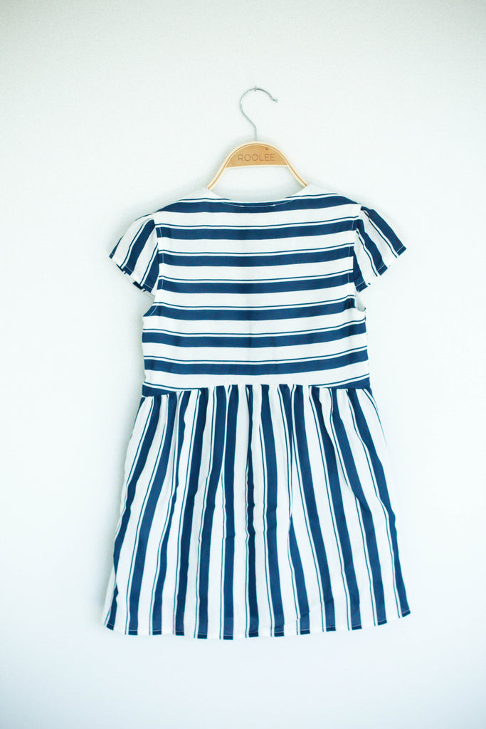 Navy + White Stripe Dress | ROOLEE Kids