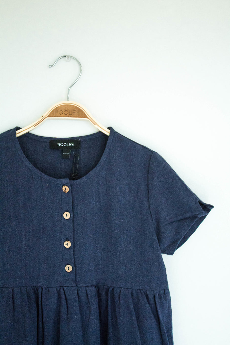 Button Dress w/Woven Texture | ROOLEE Kids