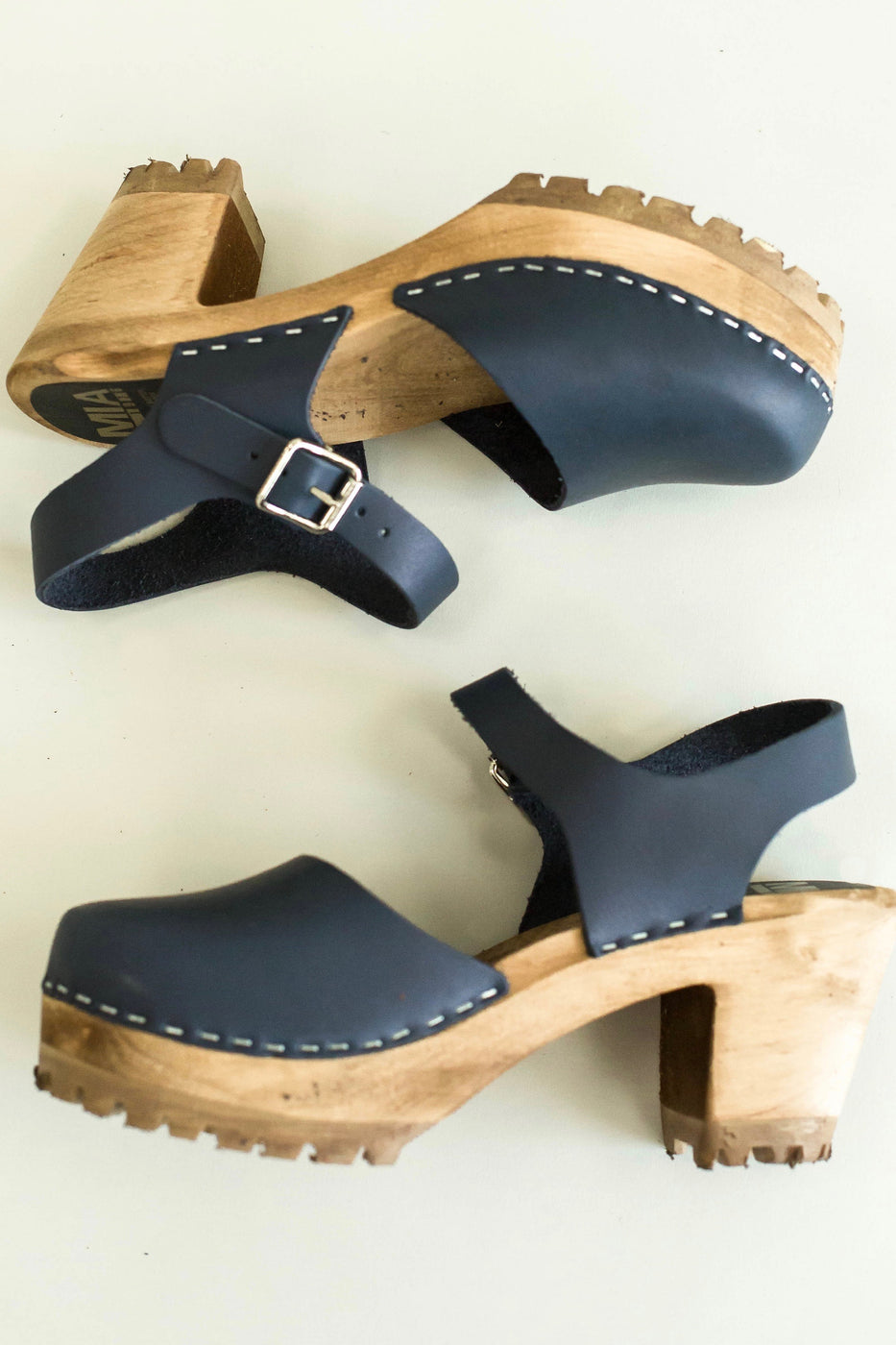 Deep Navy Blue Clogs With Wooden Heel | ROOLEE