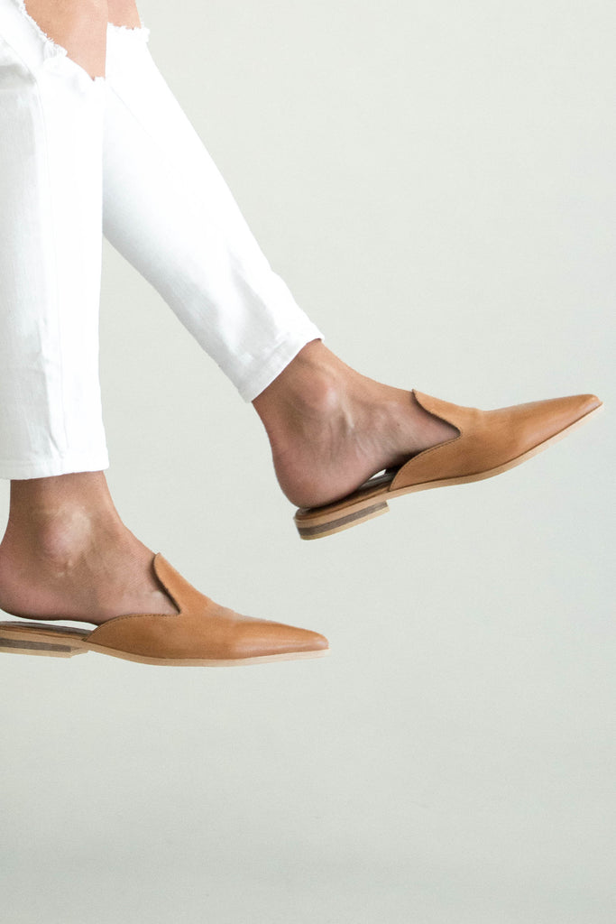 Light Brown Leather Slip Ons | ROOLEE
