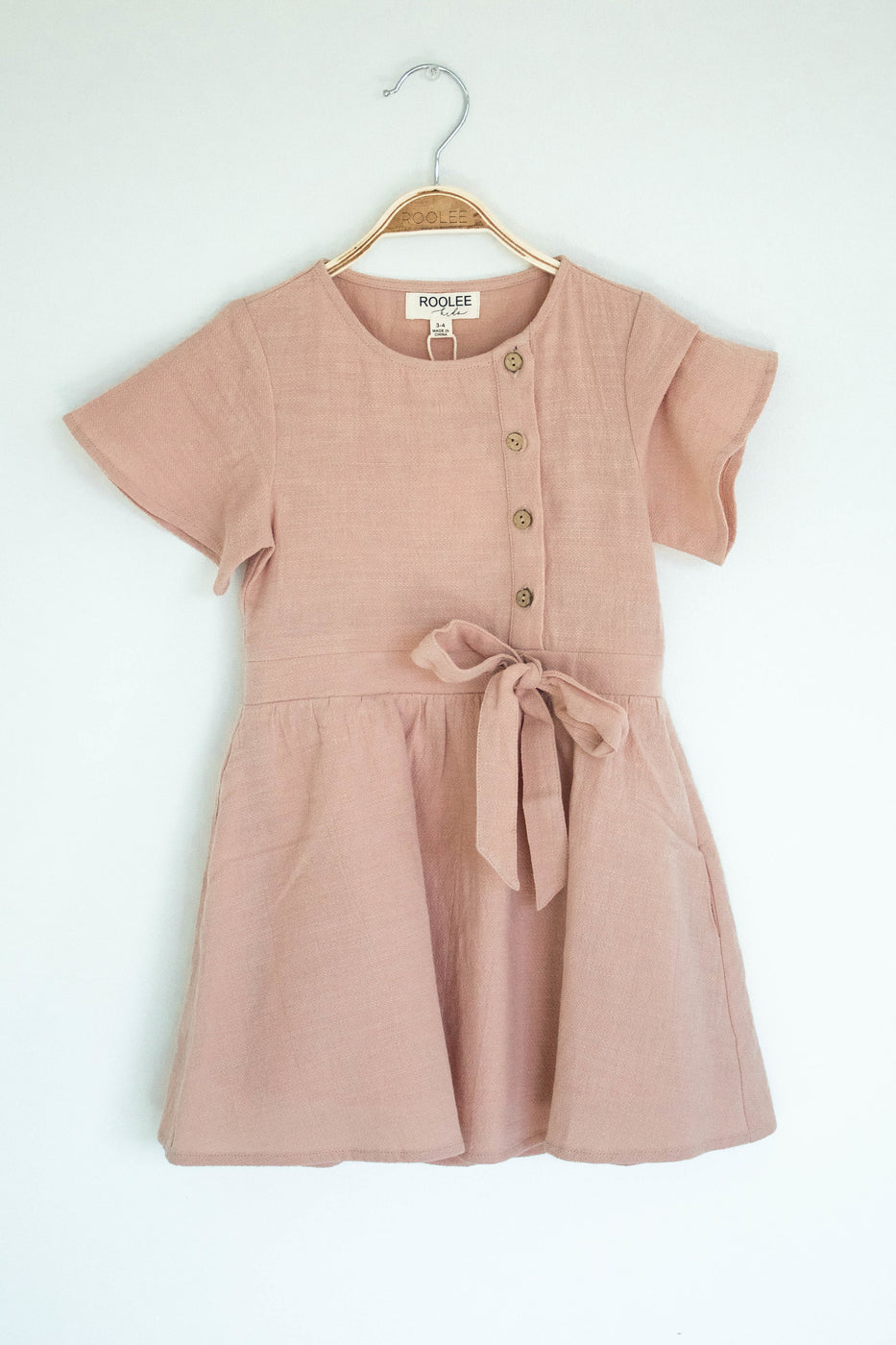 Short Sleeve Button Dress in Mauve | ROOLEE Kids