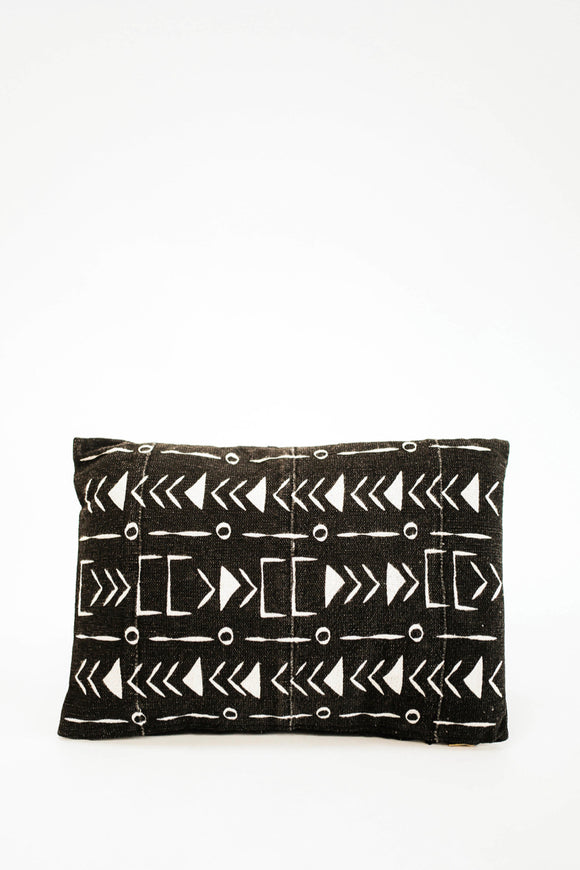 Tripoli Mudcloth Pillow in Black | ROOLEE