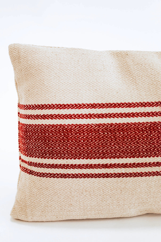 Red Stripe Woven Pillow | ROOLEE