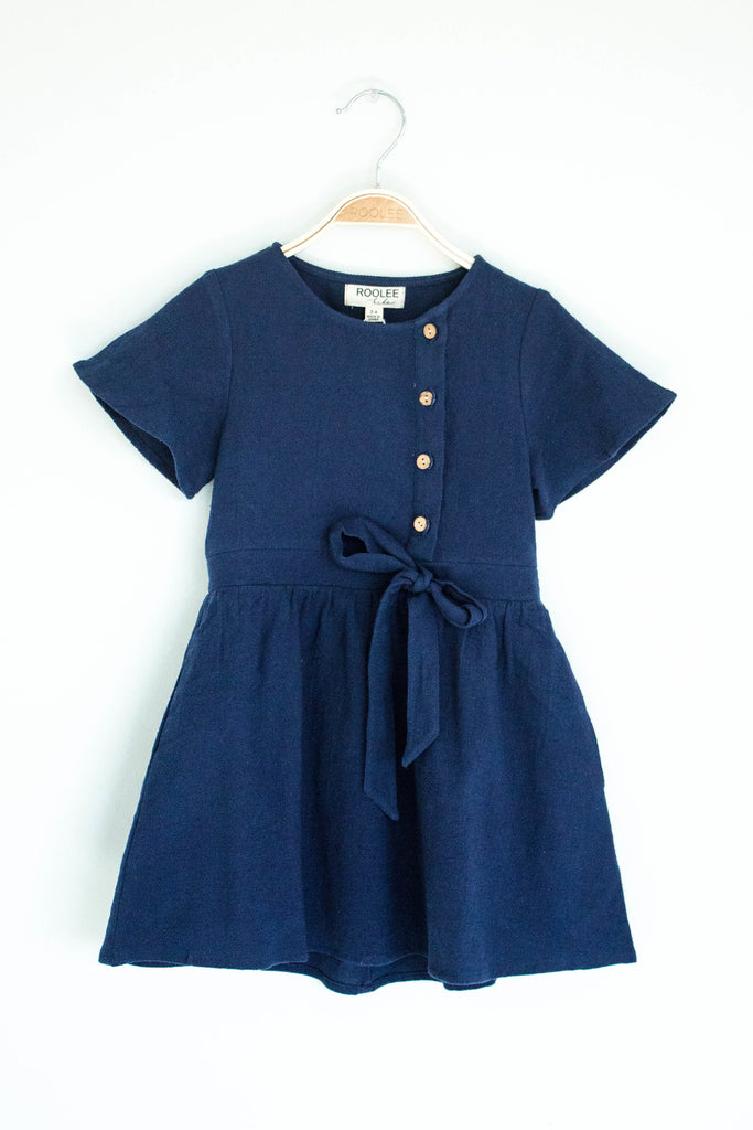 Short Sleeve Button Dress in Navy | ROOLEE Kids