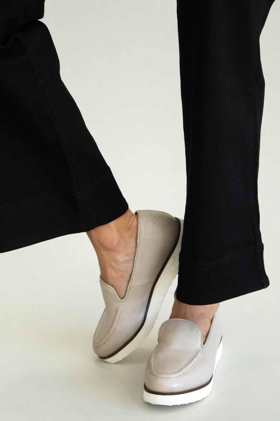 Light Grey Beige Slip Ons | ROOLEE
