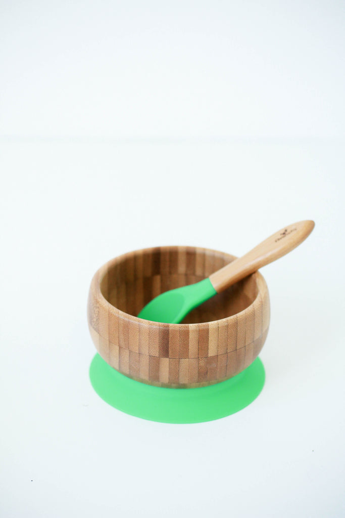 Bamboo Bowl Set in Green | ROOLEE Kids