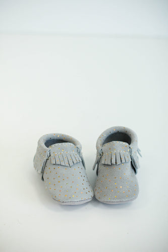 Freshly Picked Grey Confetti Moccasins | ROOLEE Kids