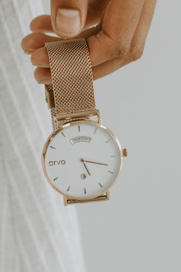 Arvo Awristacrat Rose Gold Case + Rose Gold Mesh Band | ROOLEE