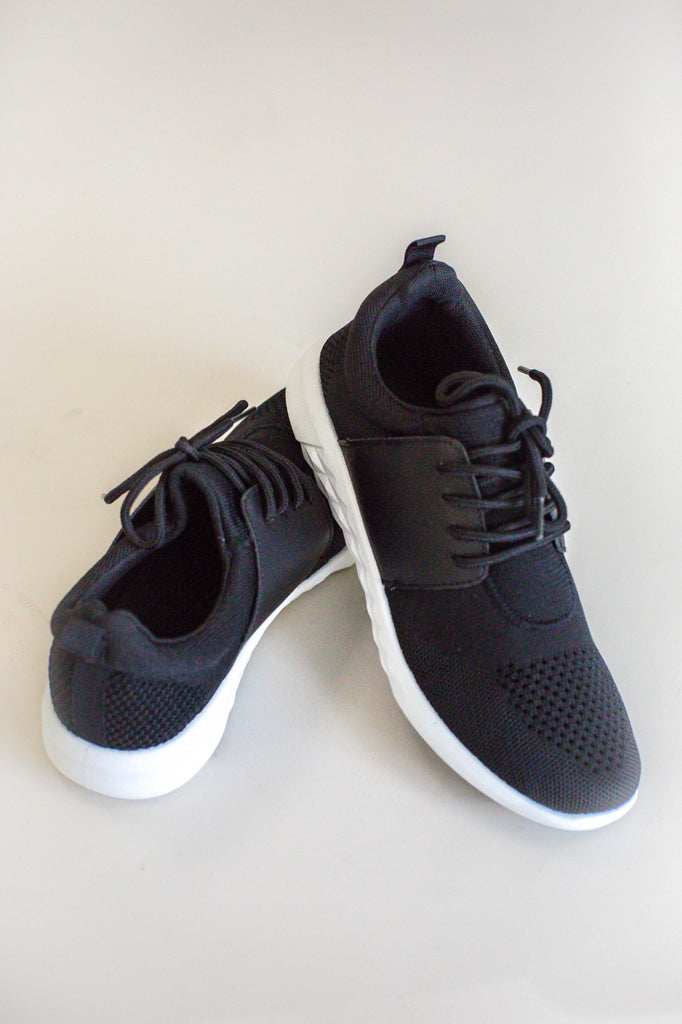 Black Knit Athletic Shoes | ROOLEE