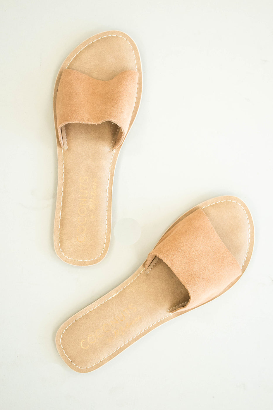 Cabana Leather Slides in Tan | ROOLEE