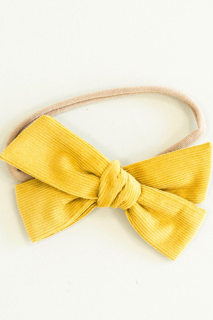 Gold Yellow Corduroy Baby Bow Headband | ROOLEE Kids