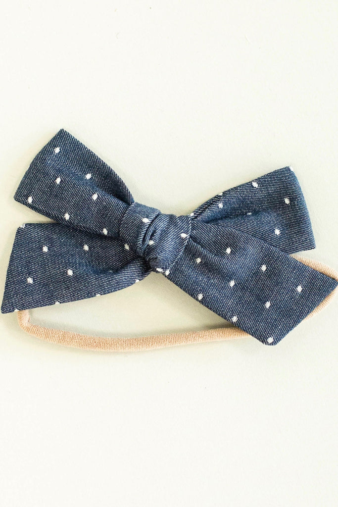 Denim Polka Dot Baby Girl Headband | ROOLEE Kids
