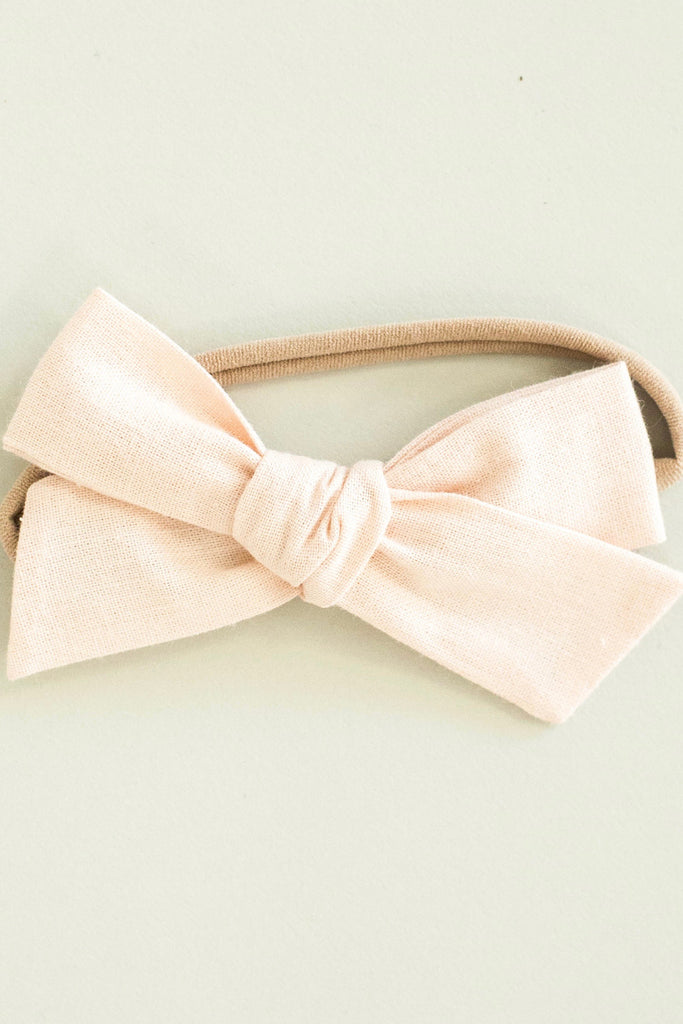Blush Pink Baby Bow Headband For Girls | ROOLEE Kids