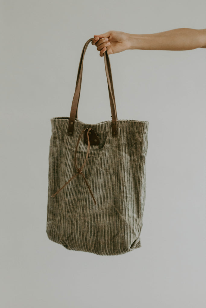 Free People Corduroy Washed Tote in Olive | ROOLEE