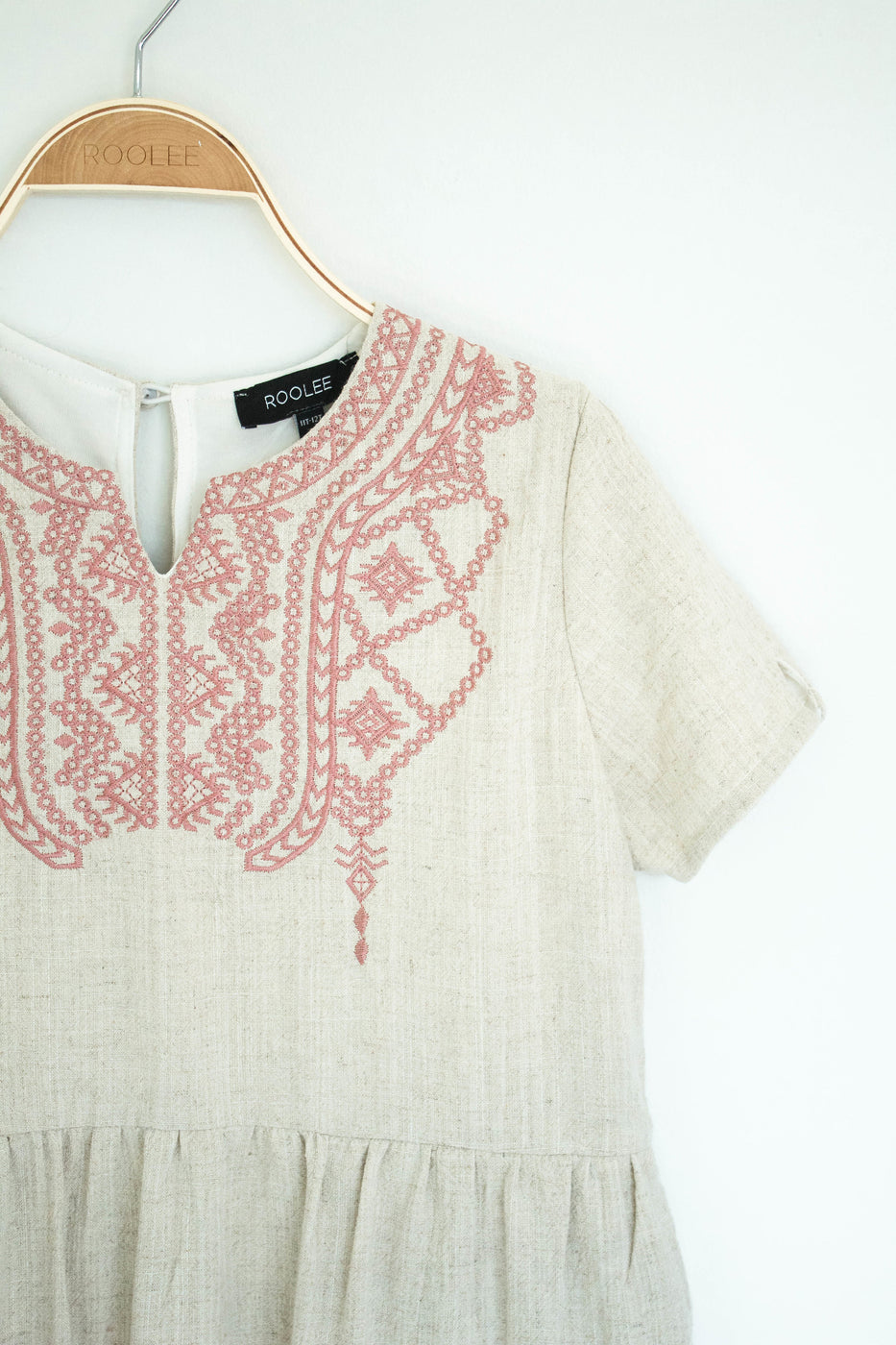 Pink Embroidery Detail Dress | ROOLEE