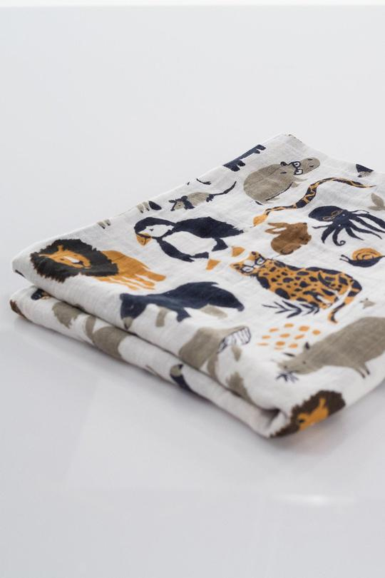 Zoo Animal Print Swaddle Blanket | ROOLEE Kids
