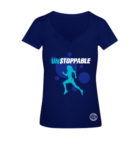 Unstoppable Blue V-Neck Tee