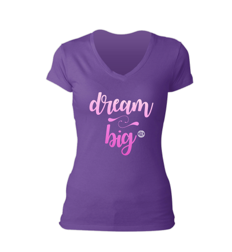 Dream Big Purple V-Neck Tee