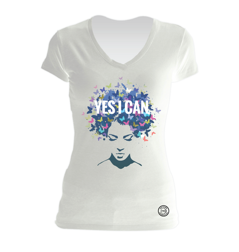 Yes I Can White V-Neck Tee
