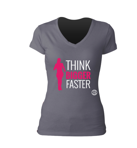 Think Bigger Faster Grey V-Neck Tee