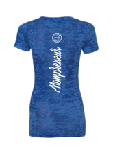 Mompreneur Blue Burnout V-Neck Tee
