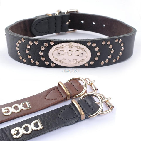 High Quality Black Brown Genuine Leather Dog Pet Collars Heavy Duty D-ring 49-57.5cm