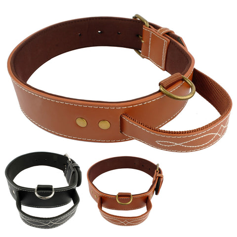 Light Weight  Brown Leather Dog Collar with Soft Padded & Leather Handle with Nylon Inner