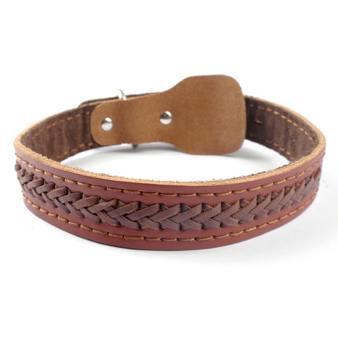 High Quality Brown Braided Genuine Leather Large Dog Pet Collar Neck for 14-22""