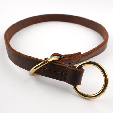 Genuine Leather Dog Collar slip Training Collars for Meduim Large Dogs