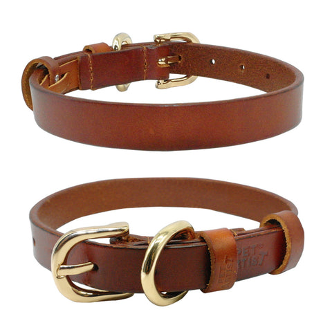 Leather Dog Collar  Adjustable Size XS-XL  Brown Color