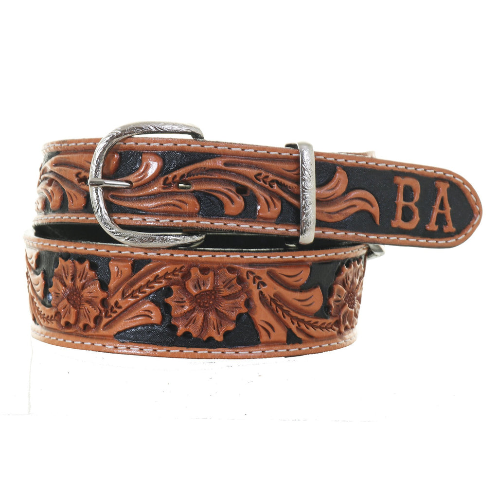B027D - Floral Tooled Tapered Belt with Initials