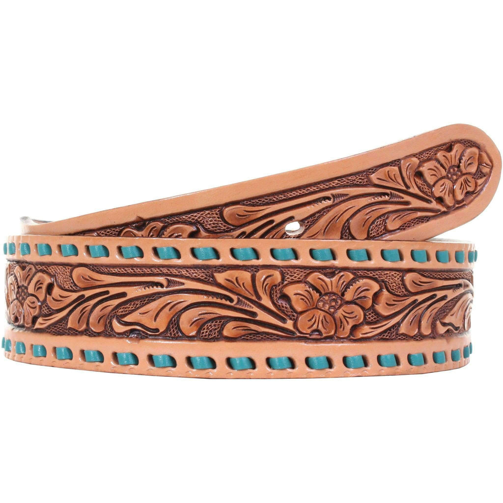 B073 - Floral Tooled Buckstitched Belt Belt