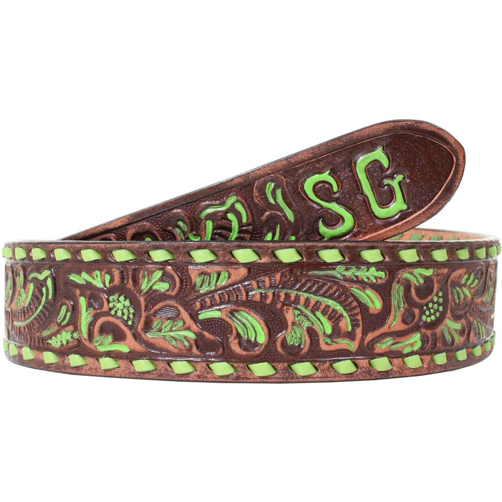 B086SD - Brown Vintage Tooled Belt