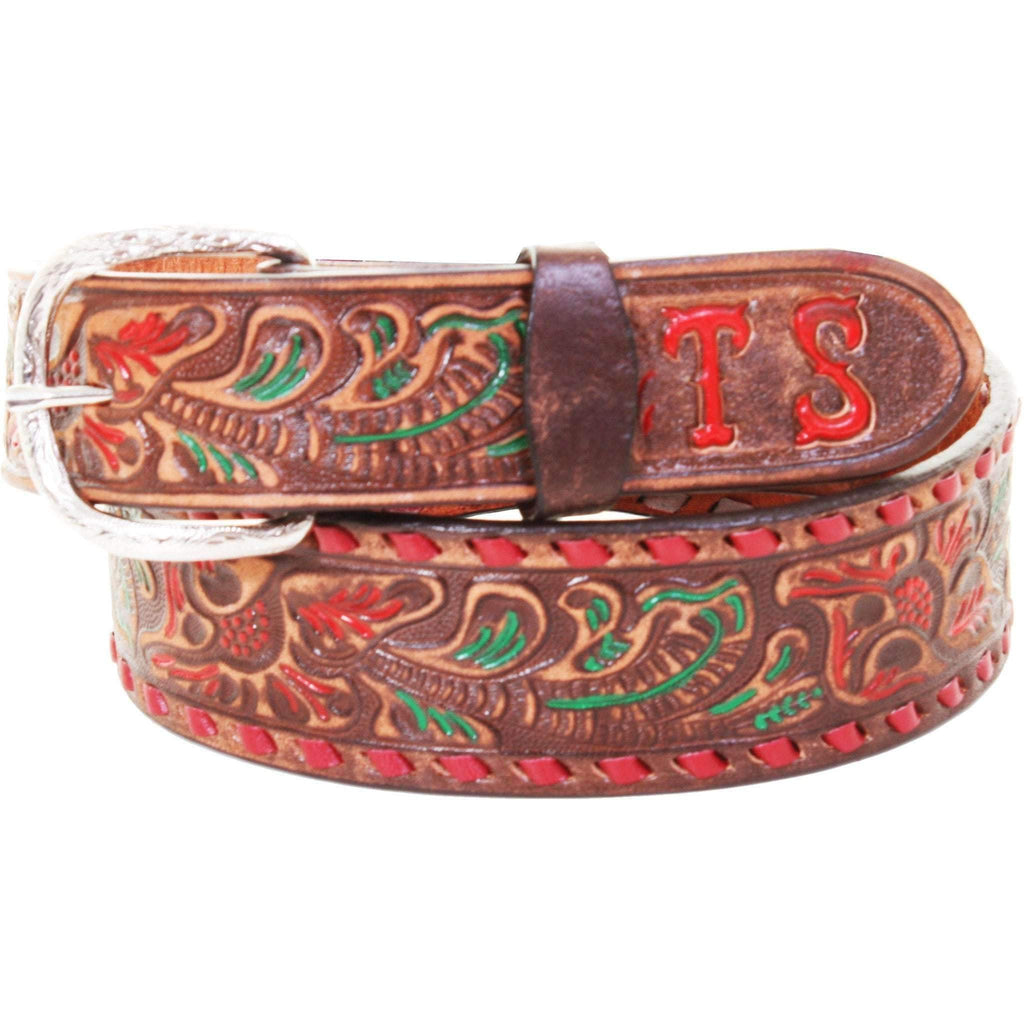B086Sd - Brown Vintage Tooled Belt Belt