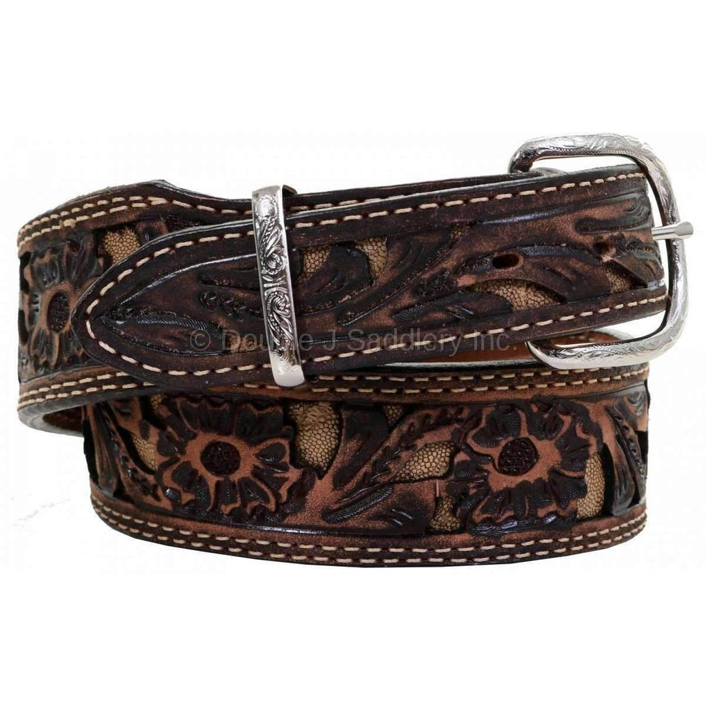 B1000 - Brown Vintage Inlayed Belt