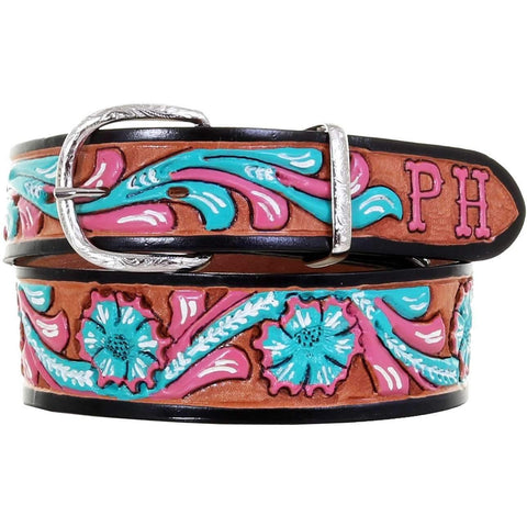 B1012 - Natural Leather Floral Tooled and Painted Belt