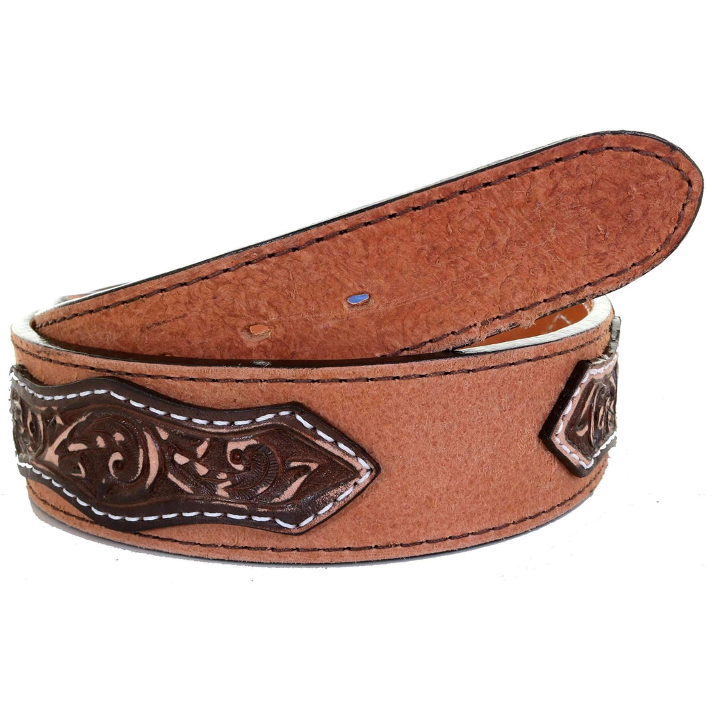 B1034 - Natural Rough Out Tooled Overlay Belt