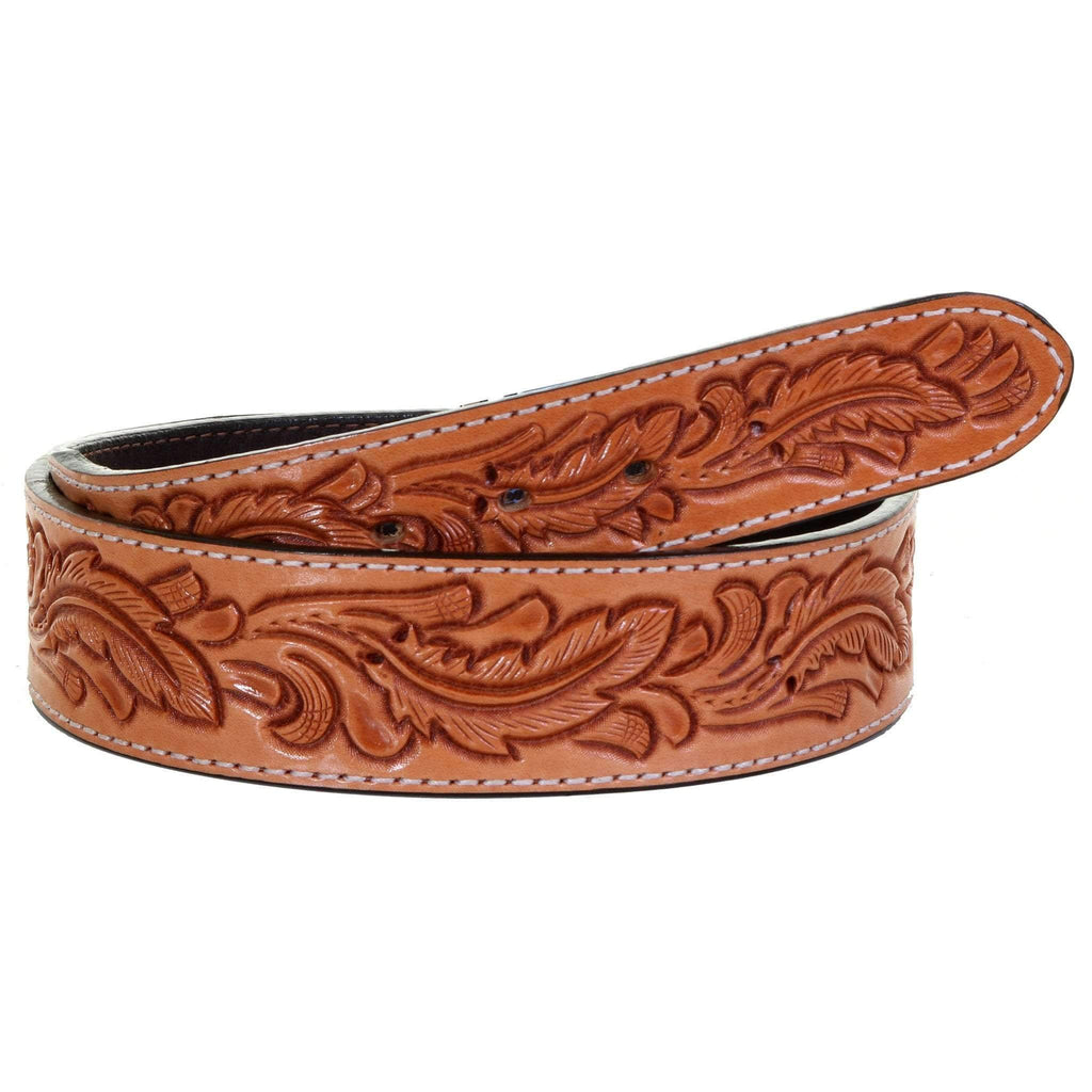 B1044 - Natural Feather Tooled Belt
