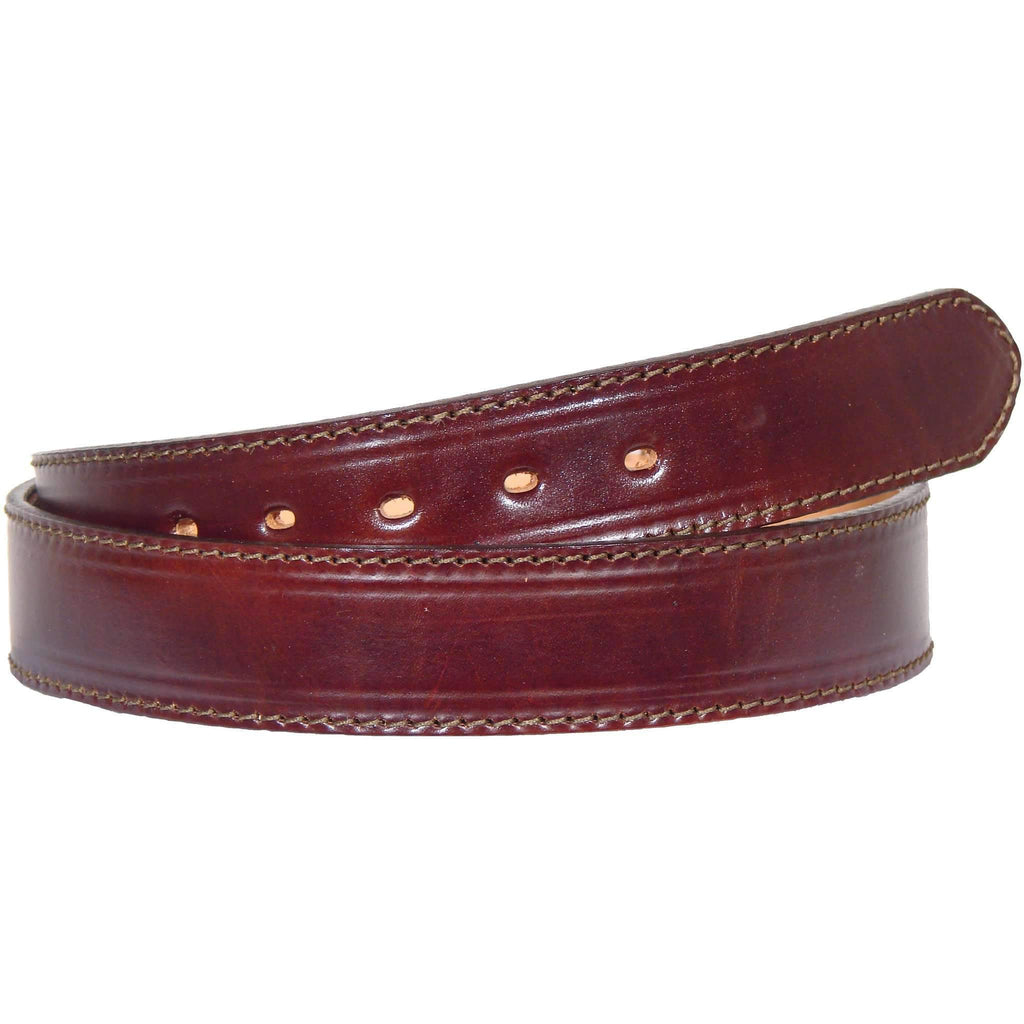 B106 - Cognac Stitched Leather Belt Belt