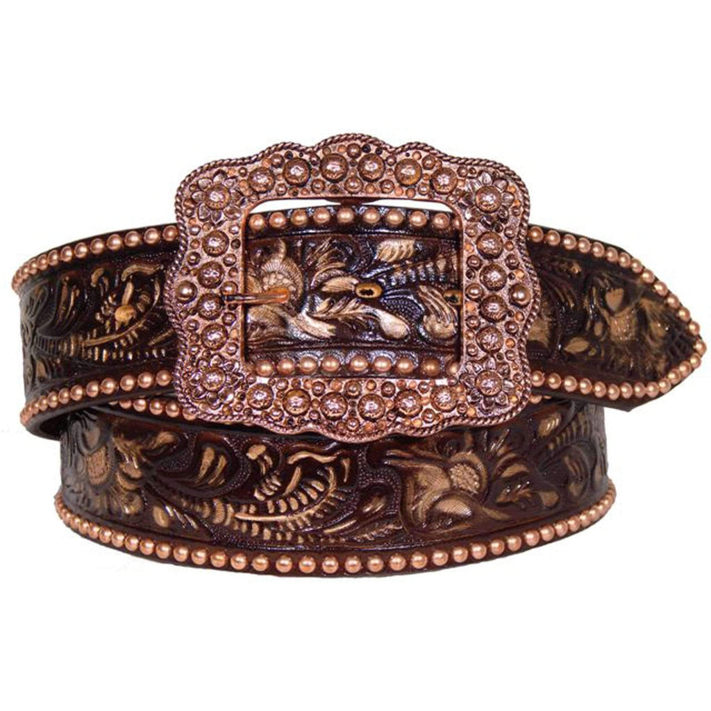 B292 - Brown Painted Tooled Belt