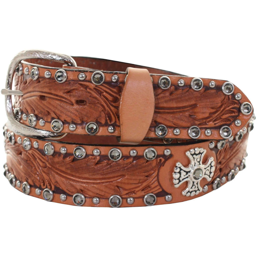 B308A - Natural Feather Tooled Belt