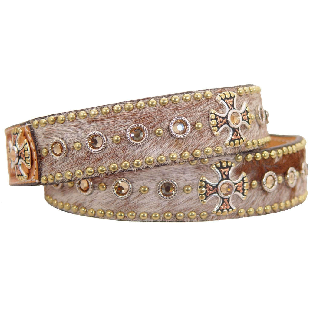 B316 - Roan Hair Crystaled Tooled Belt