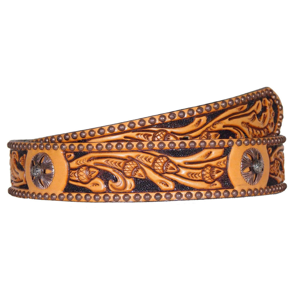 B470 - Natural Acorn Tooled Concho Belt Belt