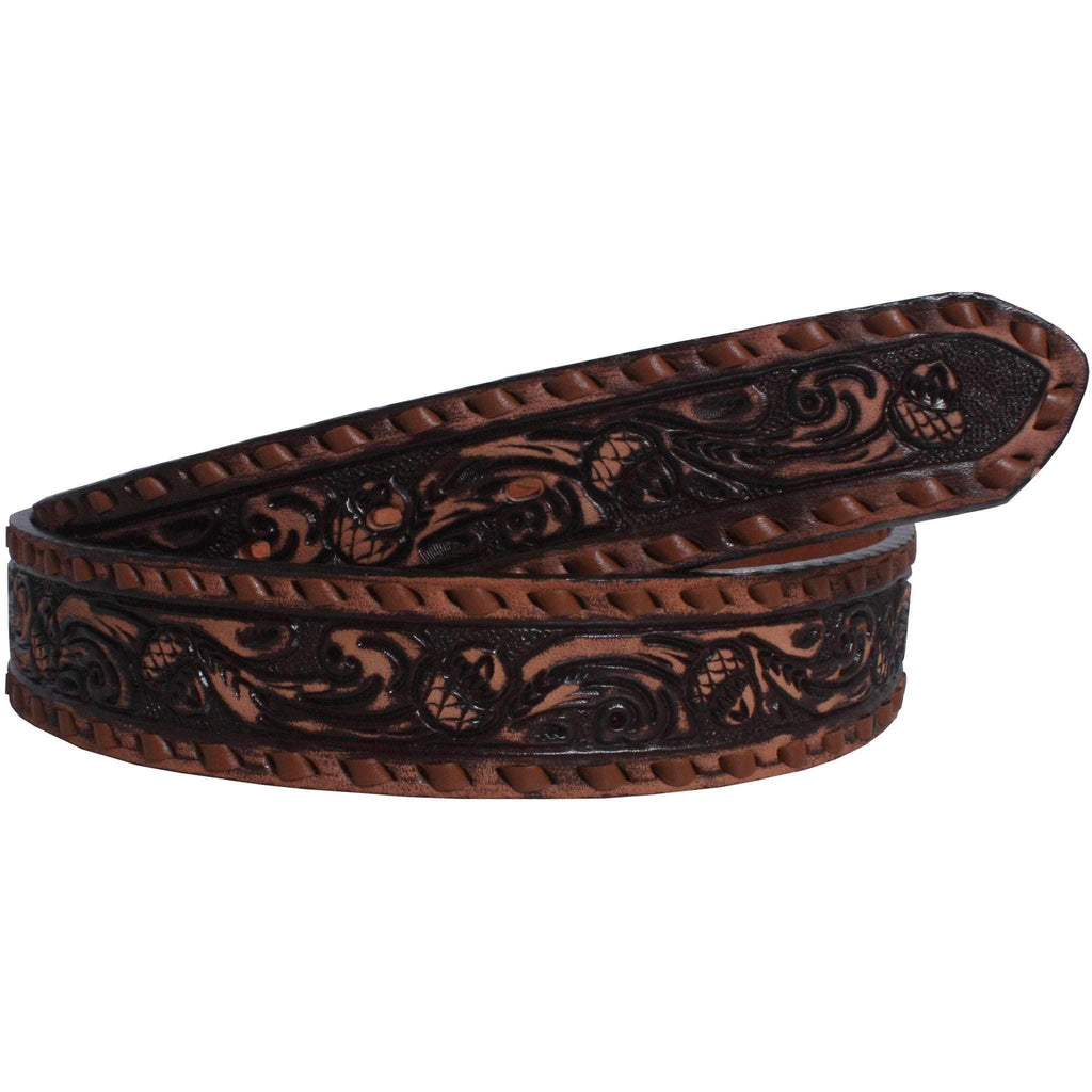 B543B - Brown Vintage Acorn Tooled Belt