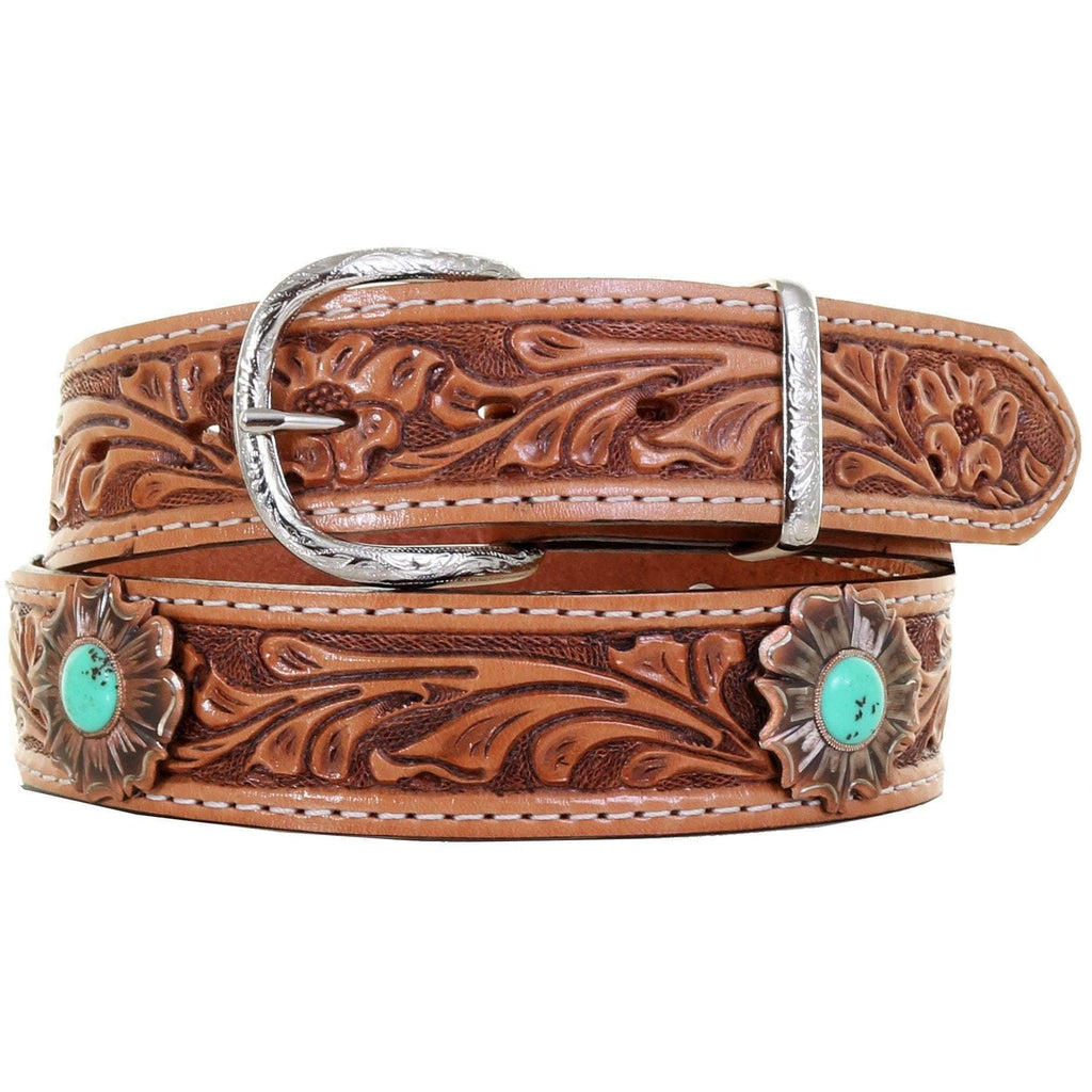 B578A - Natural Floral Tooled Belt with Turquoise Concho